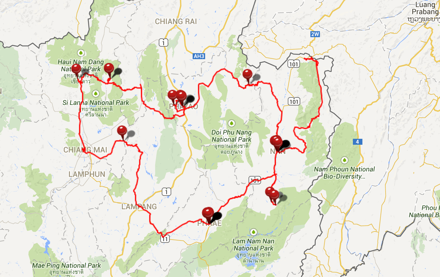 Northern Thailand road trip route