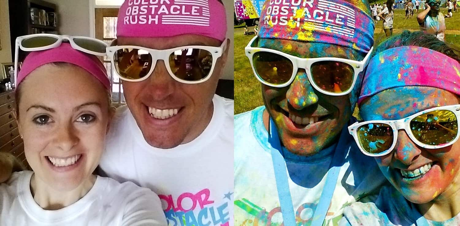 Colour run before and after