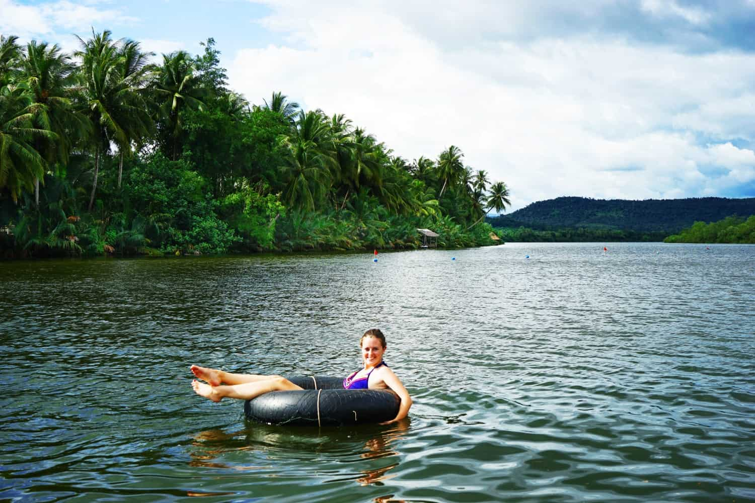 Lauren tubing in the Tatai River