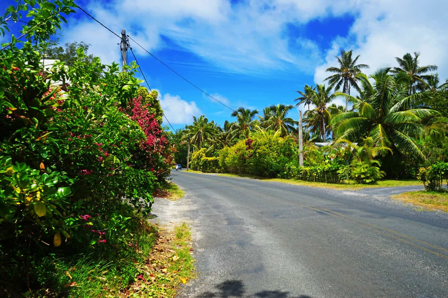 The main road in Rarotonga, the Cook Islands