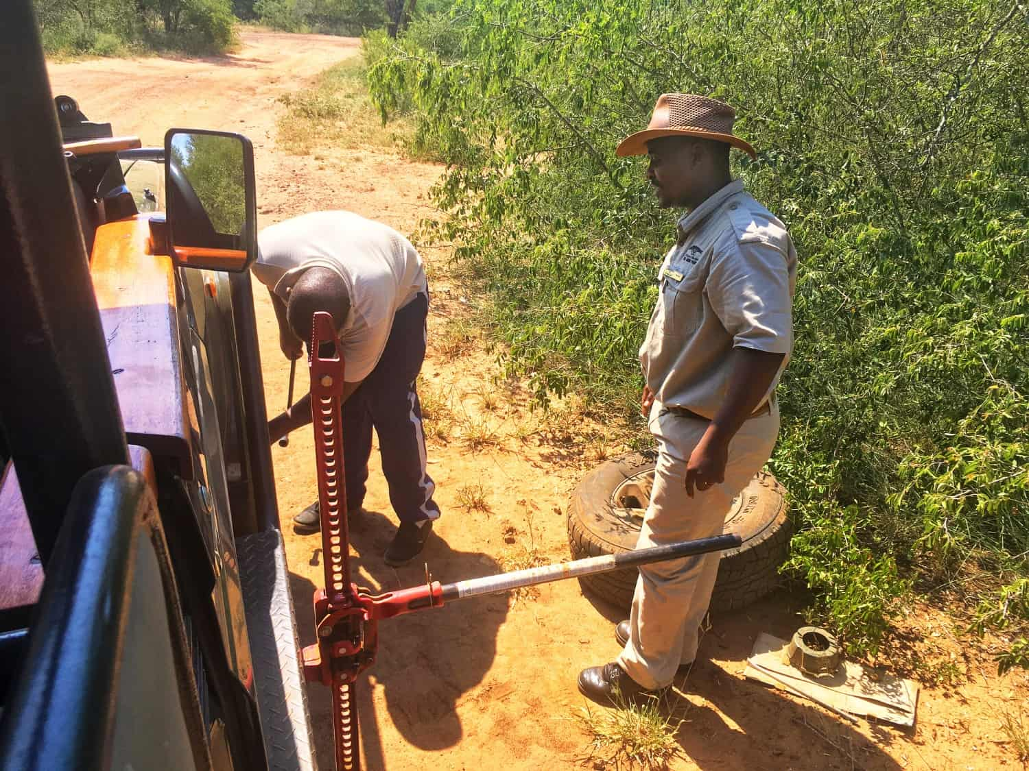 Changing a tire in Swaziland