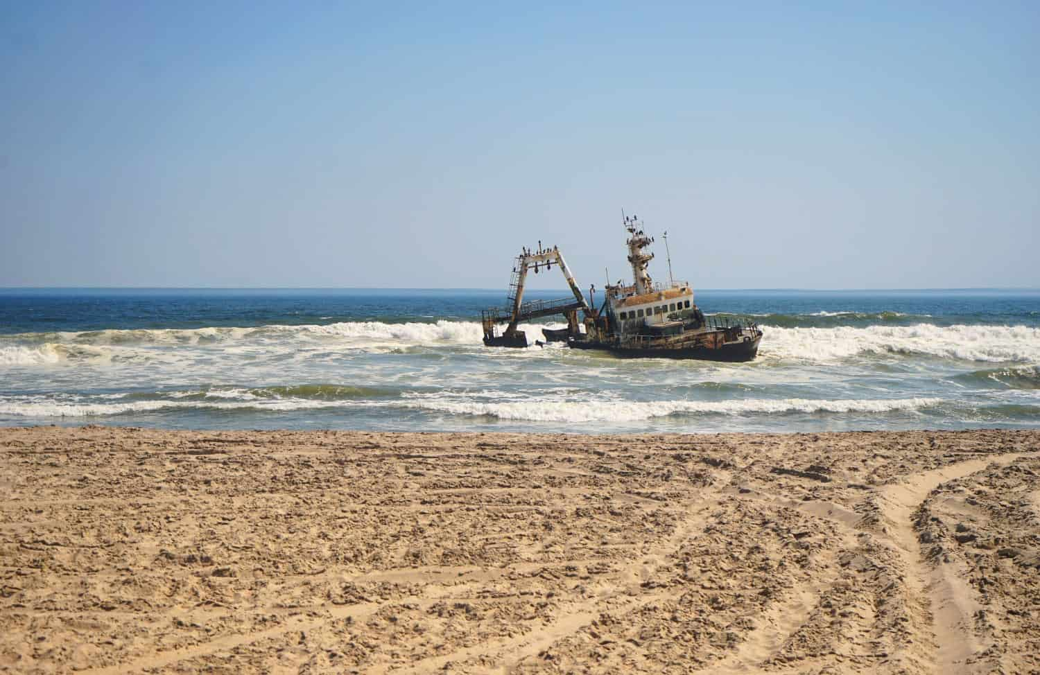 Shipwreck on the Skeleton Coast in Namibia