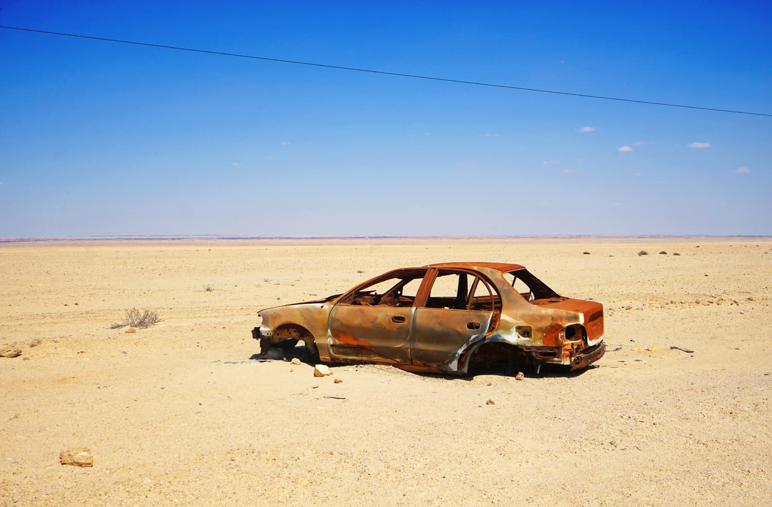 Burnt out car in Namibia