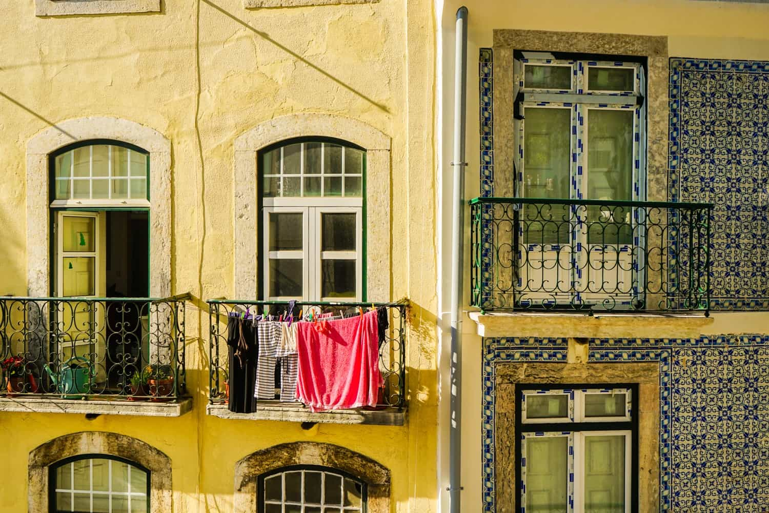 Lisbon windows with laundry