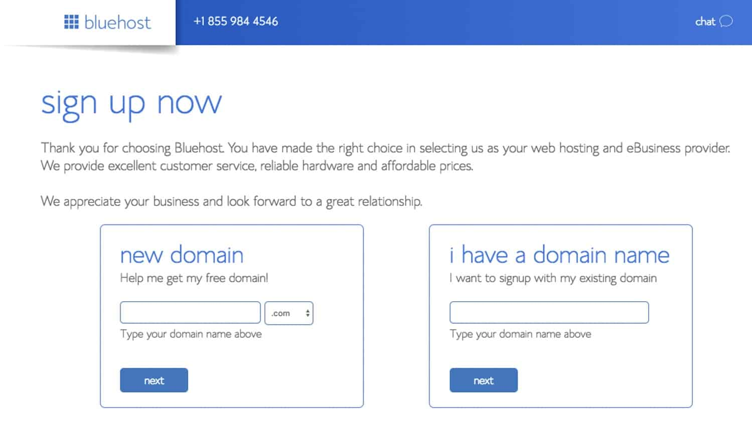 Bluehost sign up screen for domain name