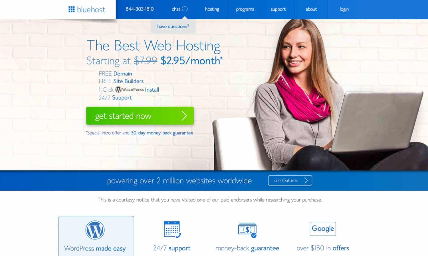 Bluehost sign-up screen for promo pricing