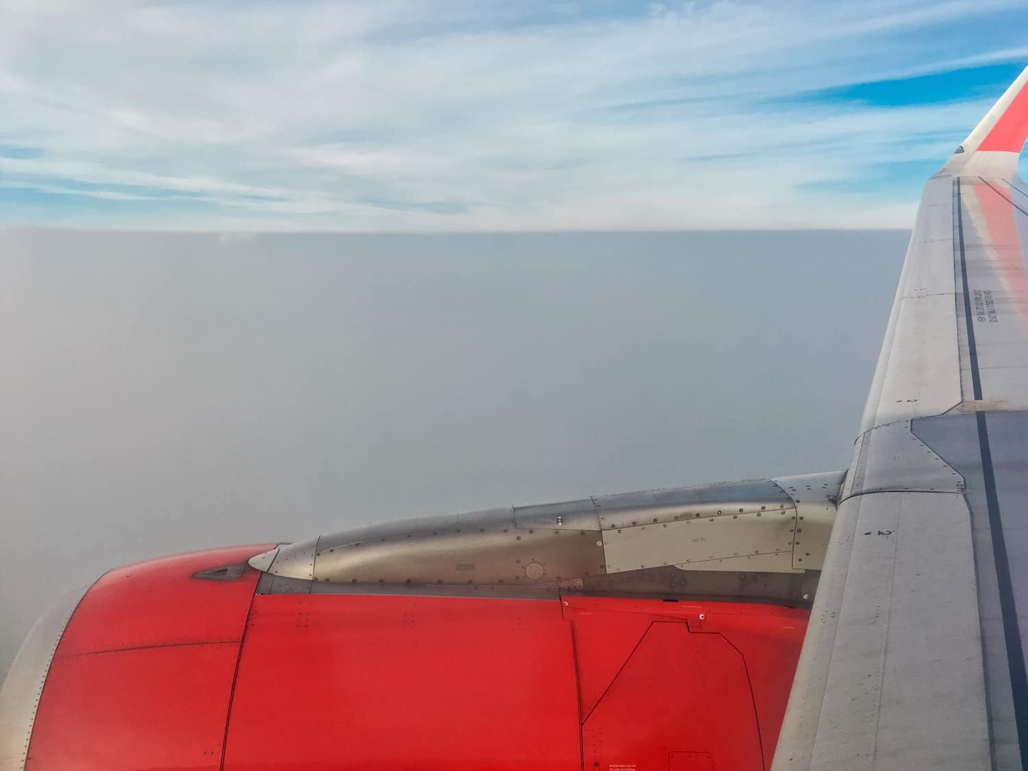 AirAsia flight flying over smog in Chiang Mai
