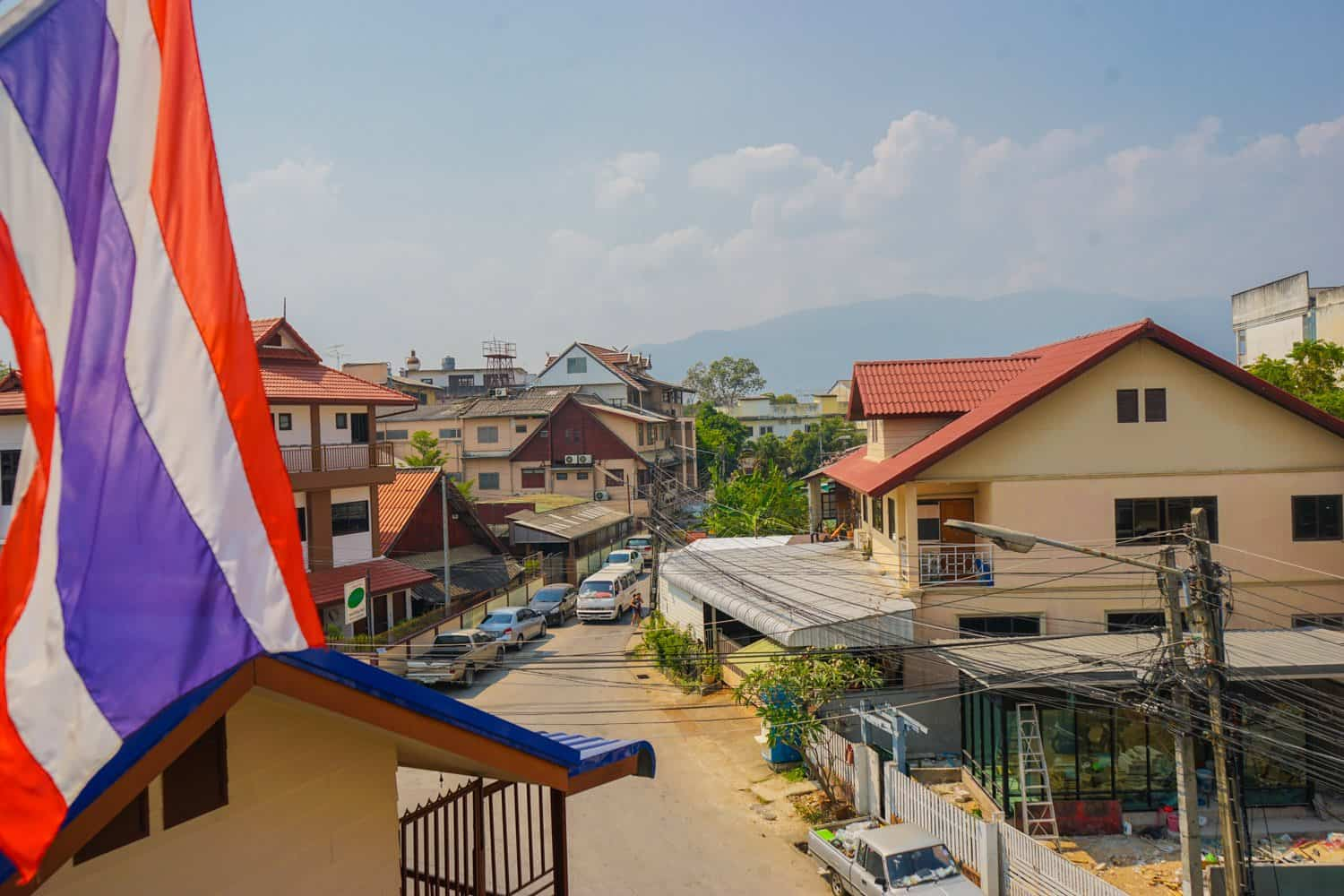Chiang Mai old town views with Thai flag